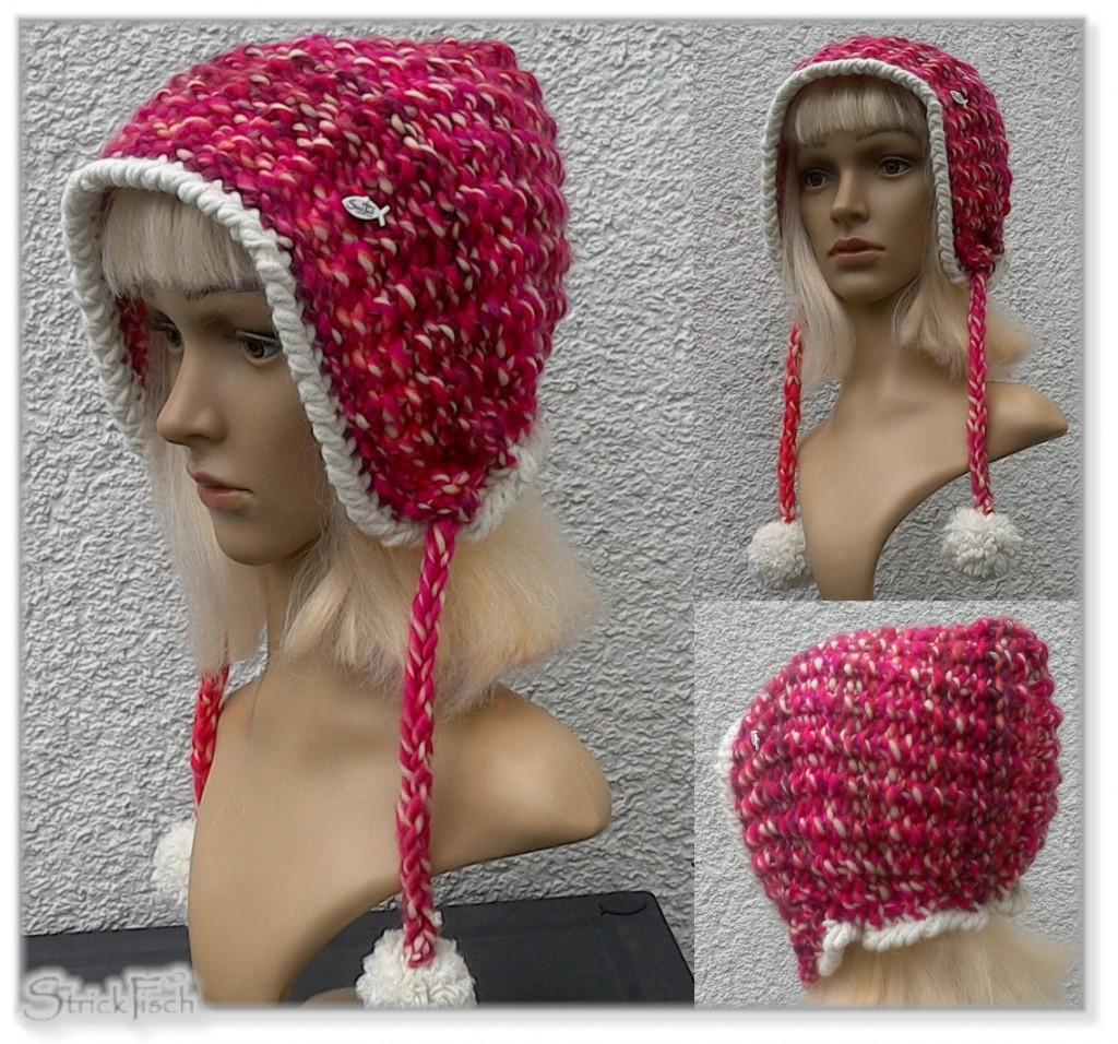 modische Kapuzen-Mütze stricken Nostalgie Design
